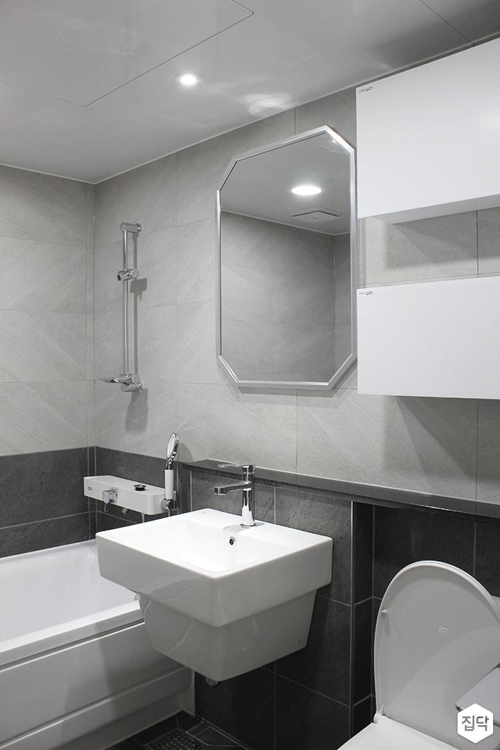 그레이,모던,심플,욕실,세면대,수납장,거울,욕조