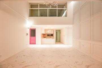 파스텔 컬러로 포인트를 준 34평 복층형 아파트 인테리어 아파트,34평,화이트,핑크,복층,전남,무안군,남악신도시아이파크