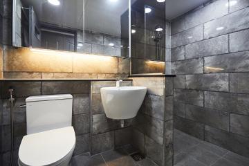 빈티지모던 스타일로 세련된 욕실, 55평 아파트 인테리어 55평,그레이,모던,빈티지,아파트,경기,고양시,일산