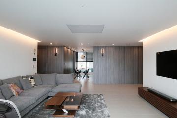 율동감있는 벽면 디자인에 흠뻑 취하다,50평 아파트 인테리어 50평,그레이,모던,아파트,송파구,잠실동
