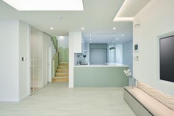무광 컬러로 이룬 고급스러운 모던 스타일, 55평 아파트 인테리어 55평,화이트,그린,모던,아파트,복층,당산동,영등포구