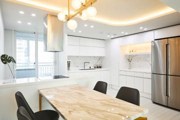 비앙코카라라패턴을 적재적소에 활용한 47평 아파트 인테리어 47평,모던,화이트,비앙코카라라패턴,아파트,영등포구,문래동