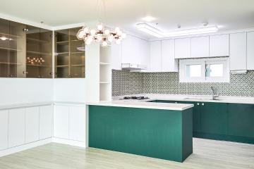 틸 블루 컬러 포인트가 돋보이는, 39평 아파트 인테리어 39평,화이트,모던,일산,대화동