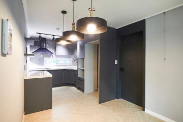 호텔 요리장이 된 느낌의 모던한 주방, 32평 아파트 인테리어 32평,블랙,모던,아파트,강서