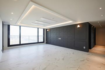 입체감 있는 아트월로 모던함과 강렬한 포인트를 준 43평 아파트 인테리어 43평,화이트,모던,아파트,인천,부평