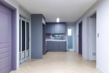 그레이 컬러 베이스에 퍼플 컬러를 포인트로 한 24평 아파트 인테리어 24평,내츄럴,부천,괴안동
