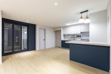 무채색 컬러와 파스텔컬러 조합으로 완성된 공간, 34평 아파트 인테리어 34평,심플,모던,부천,내동