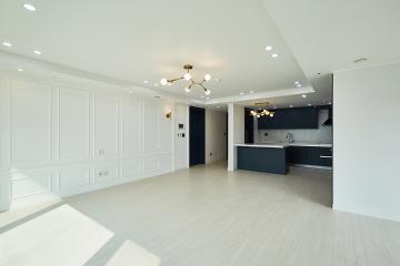 품격이 느껴지는 우아한 공간, 40평 아파트 인테리어 웨인스코팅,블루,용인시,상현동