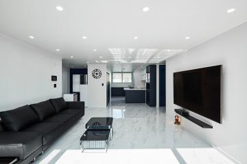 세련되고 고급스러운 포인트 컬러, 25평 아파트 인테리어 네이비,비앙코카라라,25평아파트,광주시,삼동