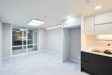 주방에서 거실까지 이어지는 포근한 느낌, 25평 아파트 인테리어. 20평대아파트,25평아파트,금천구,시흥동