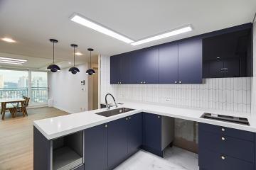 블루 컬러로 포인트를 준 심플한 인테리어, 34평 아파트 인테리어 34평아파트,30평대아파트,양천구,신월동