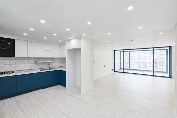 집안 곳곳 블루 컬러의 매력 포인트를! 45평 아파트 인테리어 용인시,수지구,죽전동,40평대아파트,45평아파트