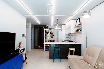 인더스트리얼 느낌의 노출 조명이 돋보이는 25평 아파트 인테리어 25평,빈티지,화이트,아파트,성동구